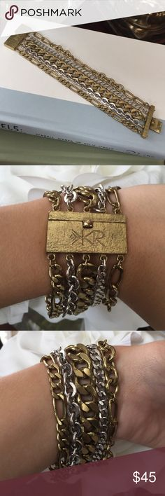 """K&R Tough Luxe Bracelet This Silpada piece comes from their K&R collection. Handcrafted in India, this Brass bracelet showcases a trendy box clasp & linked chains. There is light wear & tear as seen in the last photo on this 7 1/2"""" bracelet. *Silpada, Brass, Handcrafted, Genuine, Bracelet, Box Clasp"""" Silpada Jewelry Bracelets"""