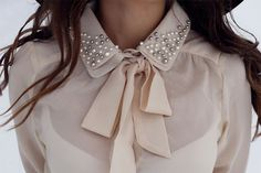 Sheer blouse with decorative collar and a bow :)
