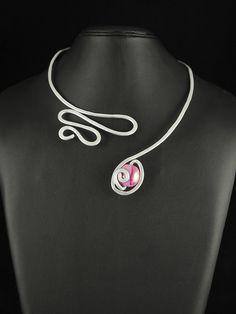 Aluminium necklace with greek ceramic bead