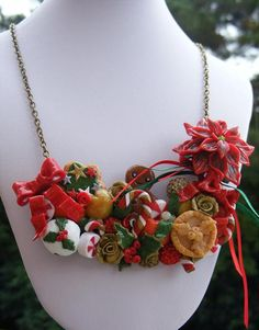 Polymer Gingerbread Necklace  Man Christmas Fashion by Sweetystuff