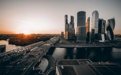 sunrise, Moscow, Russia, skyscrapers, Moscow City