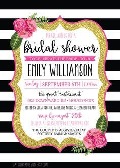 Bridal Shower OR Brunch Invitation - Pink Black Gold and White