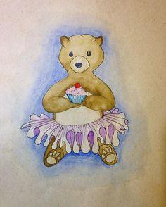 Bear has a cupcake #drawing  #bear #watercolor