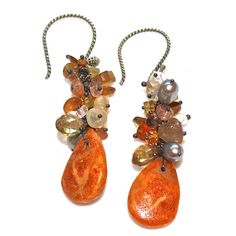 Coral Earrings Rustic Ethiopian Opal Oregon Sunstone Grey Pearl Orange Oxidized Silver Cluster Earrings Eco Jewelry,