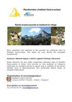 Rando Evasion Weekend chablais franco-suisse by Organisateur de rando via slideshare Franco Suisse, Adventure, Paisajes