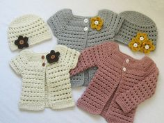 CROCHET PATTERN Toddler Cardigan and Beanie (4 sizes included: 6 months to 5 toddler) permission to sell finished items. $4.99, via Etsy.