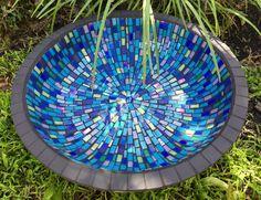 Mosaic bird bath birdbath Unique garden by RebeccaNaylorMosaics Mosaic Birdbath, Mosaic Garden Art, Mosaic Vase, Mosaic Flower Pots, Mosaic Birds, Bird Bath Bowl, Diy Bird Bath, Mosaic Crafts, Mosaic Projects