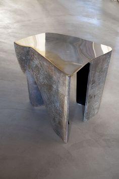 Vincenzo De Cotiis DC1736B Bench Recycled Fiberglass, Silvered Brass, Black lacquered fiberglass