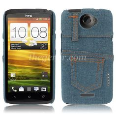 Jeans Skin Style Plastic Case for HTC One X / S720e (Dark Blue)