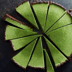 Matcha Coconut Custard Tart In A Chocolate Crust. Get this and 50+ more Matcha recipes at https://feedfeed.info/matcha