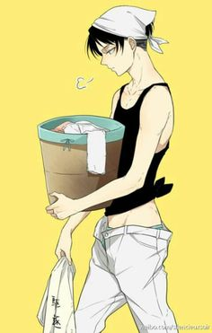 Levi, cleaning outfit, laundry; Attack on Titan