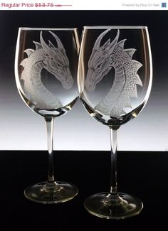 Dragon wedding glasses  bride groom  by GlassGoddessNgraving, $48.38