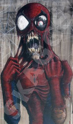 Hey, I found this really awesome Etsy listing at https://www.etsy.com/listing/116772852/zombie-spider-man-print-of-original