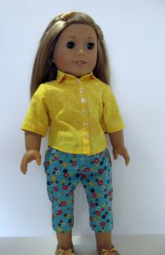 American Girl Doll Clothes  Yellow Button by EverythingNice4Dolls, $25.00
