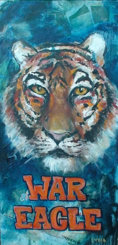 The Eye of the Tiger! Football War, Auburn Football, Auburn Tigers, College Football, Eagle Painting, Tiger Painting, Iron Bowl, Paint Booth, Custom Patches