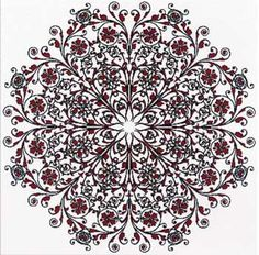 """French Filigree is a counted cross stitch design charted by Michele Sayetta.  Only full cross stitches are used in the creation of the filigree.  Stitched over 1.  Stitch count is 440 x 440 with a design size of 15.625"""" x 15.625"""".  Supplies required:  28-count White Cashel linen (3281-100)   Hand-dyed Fibers: Gandy Dancer x 6, Basic Black x 8"""