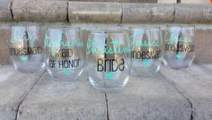 bachelorette party ideas - personalized bridesmaid wine glasses