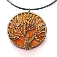 Tree Pendant Pendant Necklace - Orange and Yellow Stained Glass - Olive Tree Necklace