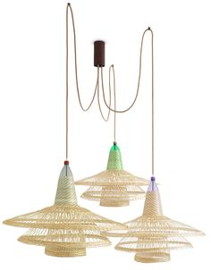 Plastic bottles woven with wicker form Chimbarongo light for PET Lamps