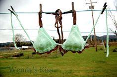 Knitted Bikini Top chocolatechip mint handknitted by WendysKiss, $20.00