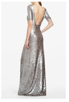 BCBG MAXAZRIA ENNOR EVENING GOWN  Boatneck. Elbow-length sleeves. Classic fit. Scoop back. Sequin pattern may vary. Measures approximately 56 from shoulder to hem. Nylon, Spandex. Imported. Dry Clean. Bring iconic shine to your night-out look with this allover sequined dress