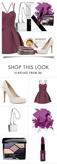 """""""white and purple"""" by junethesev7n ❤ liked on Polyvore featuring Jessica Simpson, Chi Chi, Kendall + Kylie, Bobbi Brown Cosmetics, Christian Dior, NYX and Roberto Coin"""