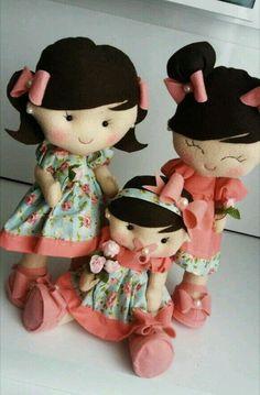Trio de bonecas para nichos