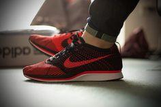 Nike Flyknit Racer - Crimson/Black. #sneakers