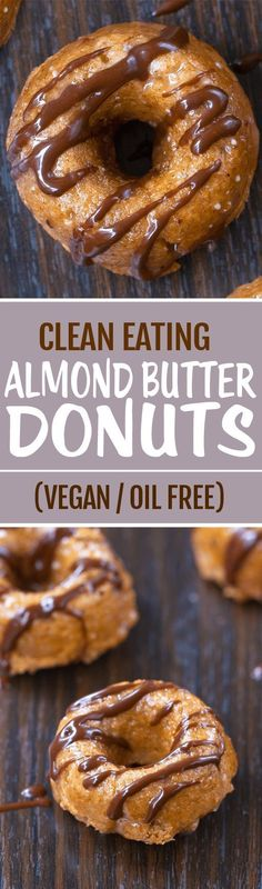 Super Healthy Almond Butter Donuts, made with NO oil, and no eggs, totally vegan donuts Paleo Dessert, Vegan Desserts, Vegan Recipes, Dessert Recipes, Cooking Recipes, Healthy Sweets, Healthy Baking, Donut Recipes, Whole Food Recipes
