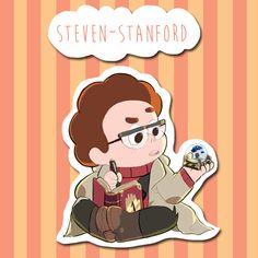 Steven Universe y caídas de gravedad crossover - Steven como etiqueta digital Stanford pinos