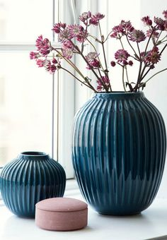 Blue petroleum vase from Kähler. The vase gives your home warmth and an elegant look while it also presents itself beautifully, with its individual details and the wonderful colour.