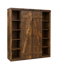 Amish Barn Door Bookcase Sliding barn doors open to your collection of books. Picture this rustic look in your living room or library. Custom built with solid wood. Made in America. #bookcase #bookshelves #barndoorfurniture #farmhouse