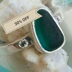 Lab Diamonds eco-friendly x 2, Recycled 925 Silver Band, Bespoke Green Seaham Seaglass Ring - MADE TO MEASURE by paulajanejewellery on Etsy https://www.etsy.com/uk/listing/521164147/lab-diamonds-eco-friendly-x-2-recycled