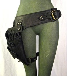stylist, shears holster belt with leg strap high quality, black leather $268