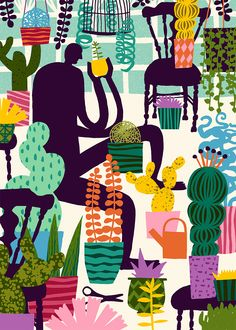 Illustration: 'Natural Recall' by Marijke Buurlage. This illustration of a man living between his plants is made for the Natural Recall project. 'Natural Recall' is a project about the inner workings between the animal and the vegetable world. This illustration will be exhibited as a poster in Venice in Nov and Dec 2014. For more info about this project: www.naturalrecall.org. #marijkebuurlage #plants #succulents #greenhouse #naturalrecall #poster #illustration