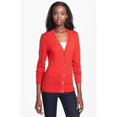 Tory Burch 'Simone' Cardigan Cherry Wine Large. Large logo buttons gleam along the placket of a fine merino-wool cardigan textured with reverse stit......[$225.00]