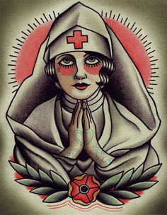 Holy Nurse Traditional Tattoo Flash by ParlorTattooPrints on Etsy