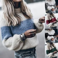 Buy Womens Contrast Color Collar Loose Knitted Pollovers Sweater Blouse Women Autumn Winter Sweaters at Wish - Shopping Made Fun