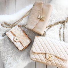 chanel & louis vuitton handbags cream color empreinte lv saint germain, flap bag