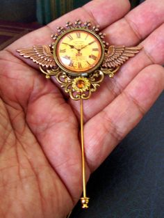 Vintage Clockface Image Under Glass Cabochon - Hat Pin