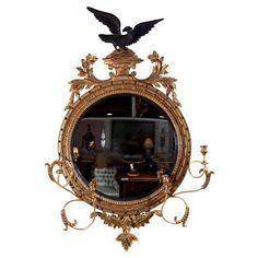 1STDIBS.COM - Greenwich Living Antiques & Design Center - Federal Style Girandole Convex Mirror ($500-5000) - Svpply