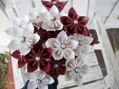 White and Burgundy Paper Flower Wedding Bouquet