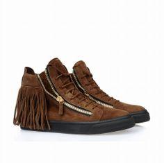Giuseppe Zanotti Design Frange High Top Sneaker Brun,baskets homme soldes