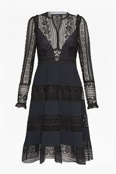 <ul> <li> Flared skirt long sleeve dress with lace bodice and skirt</li> <li> Fabric: Structured, textured, with form-fitting bodice and full skirt</li> <li> Lace mock neck</li> <li> Frilled sleeve detailing</li> <li> Fixed waist</li> <li> Lined bodice</li> <li> Fitted - flaring at the waist</li> <li> UK size 10 length is 105cm</li> </ul>  &...