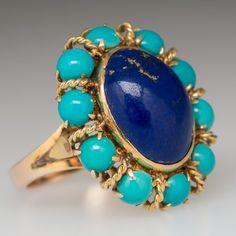 Vintage Cocktail Ring Lapis Lazuli & Turquoise Gold by EraGem Turquoise Jewelry, Gemstone Jewelry, Diamond Jewelry, Bijoux Lapis Lazuli, Jewelry Gifts, Fine Jewelry, Fantasy Jewelry, Cocktail Rings, Vintage Jewelry