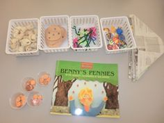 Benny's Pennies  -Give each student 5 pennies..as you read the story, you will be the cashier, and they are the buyer--1 cent for each item---items from story--Great activity to teach subtracting as well as recalling