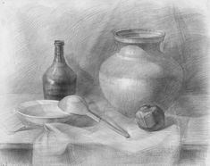 Still life by graphite pencil Basic Drawing, Drawing Sketches, Drawing Eyes, Sketching, Graphite Drawings, Pencil Drawings, Pencil Art, Illusion Drawings, Observational Drawing