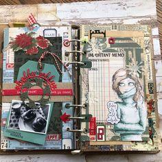 Christmas Journal, Christmas Scrapbook, Journal Notebook, Junk Journal, Planner Pages, Planner Ideas, Glue Book, Elizabeth Craft Designs, Art Journal Techniques