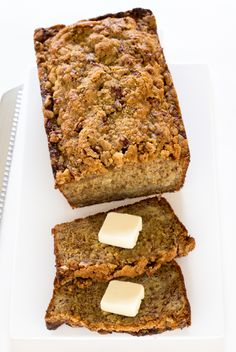 Caramel Pecan Banana Bread swirled with homemade caramel sauce and topped with a pecan streusel topping. This is the BEST banana bread you will ever have!