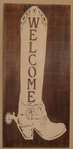 Welcome Boot - wall hanging - western decor. $58.00, via Etsy.